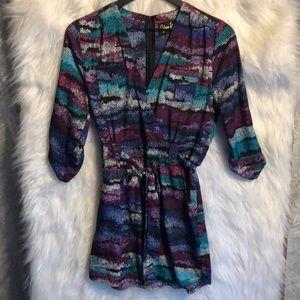 Yumi Kim Printed Faux Wrap Mini Dress Size XS